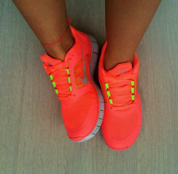 shoes orange neon sneakers nike running shoes nike shoes swag bright sneakers