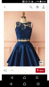 dress,two-piece,mini skirt,lace top,dark blue,prom dress,wedding,high waisted,sleeveless,satin skirt