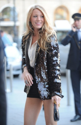 jacket sequins party outfits blake lively blake lively outfit sequin jacket black jacket party ootd party outfits