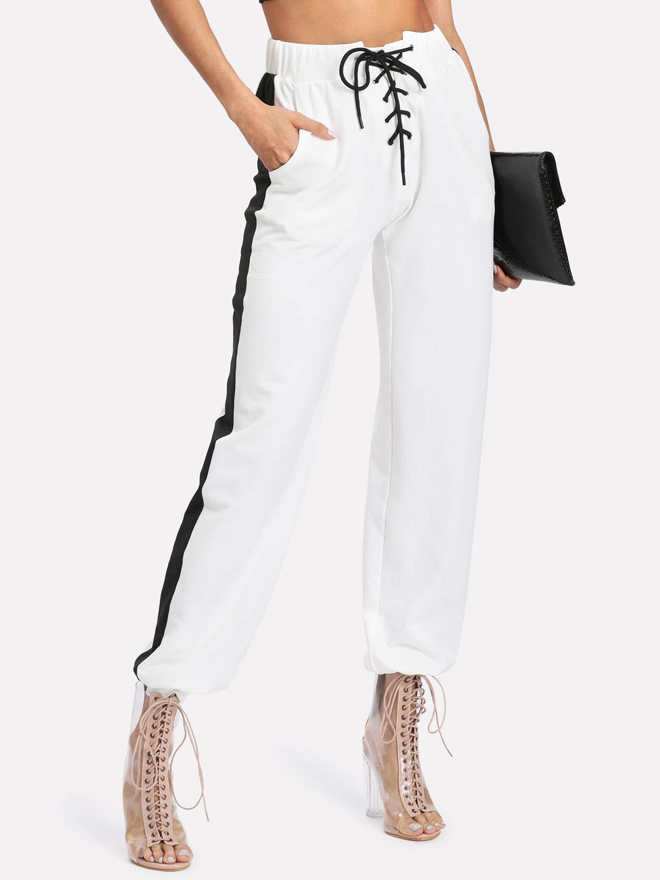 Lace Up Front Contrast Panel Sweatpants -SheIn(Sheinside)