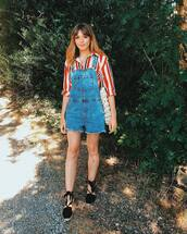 jumpsuit,overalls,denim,denim overalls,top,shoes,sandals,denim jacket