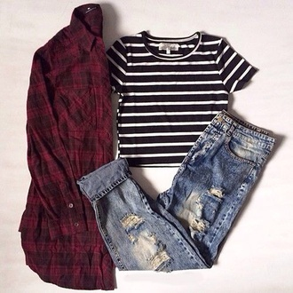 top blouse t-shirt jeans stripes hipster grunge black white red blue jeans ripped jeans tank top tumblr flannel distressed denim jacket pants shirt hipster jeans striped t-shirt tumblr shirt black and white striped tshirt plaid shirt