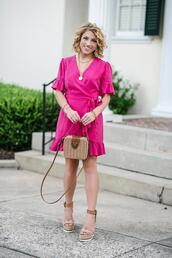something delightful,blogger,dress,shoes,bag,jewels,wedges,wedge sandals,pink dress,wrap dress