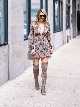 visions of vogue blogger dress bag shoes jewels sunglasses thigh high boots over the knee boots shoulder bag mini dress