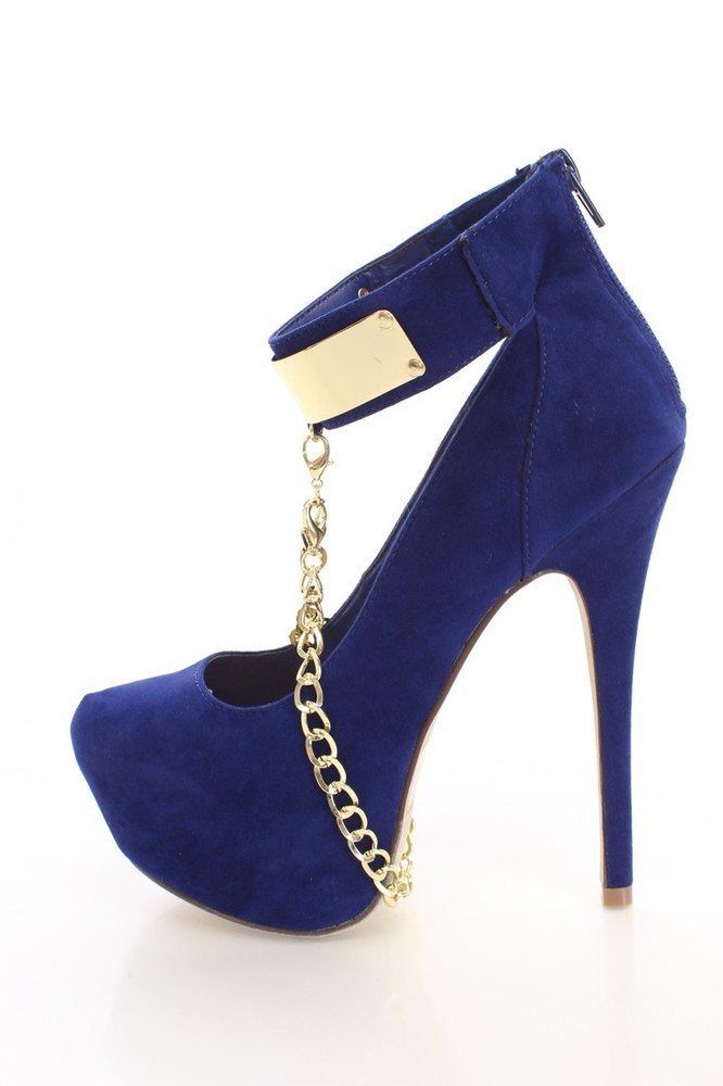 Royal Blue Heels With Strap  Tsaa Heel