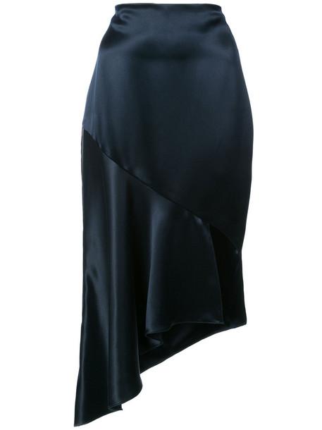 skirt women blue silk