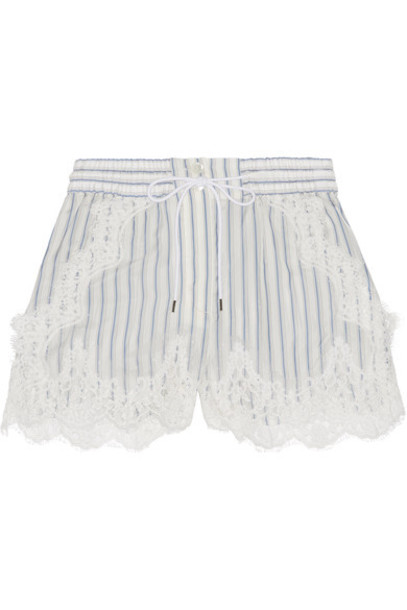 Sacai - Lace-trimmed Striped Shell Shorts - Off-white