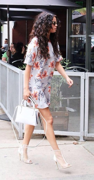 dress short dress t-shirt dress selena gomez curly hair peep toe boots peep toe