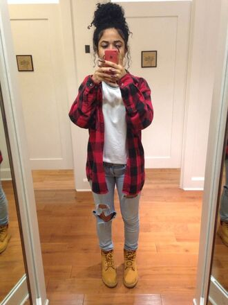 jacket plaid jeans denim torn jeans torn denim shoes top trill dope ootd iphone style white shirt lumberjack ripped jeans timberland t-shirt shirt curly hair mirror cute streetstyle streetwear clothes tumblr tumblr clothes blue jeans trendy