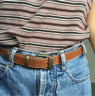 t-shirt stripes shirt jeans tumblr hipster top 90s style denim belt mom jeans boyfriend jeans grunge aesthetic vintage adidas nike
