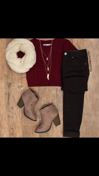 shirt fall outfits red dark