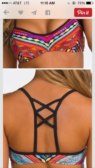 swimwear tribal pattern tribal/ aztec pattern nike free runs bathing suit top bathingsuits style fashion trendy hippie