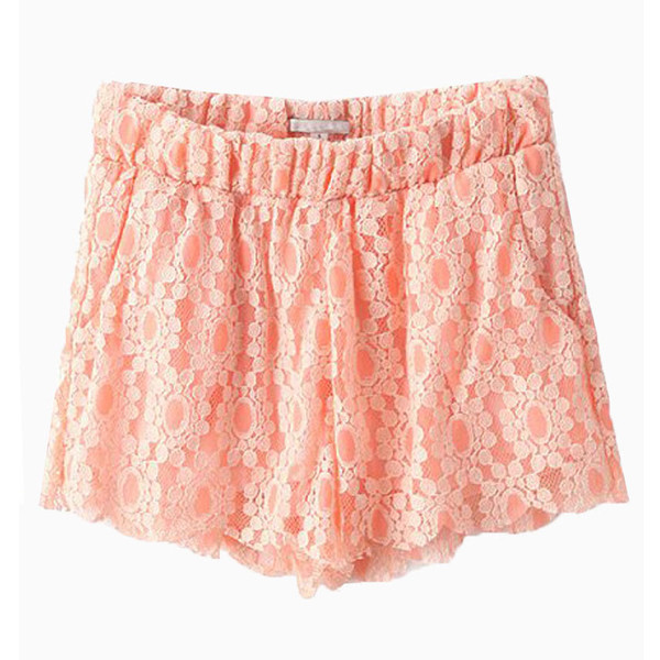 lace shorts crochet peach summer outfits sweet shorts