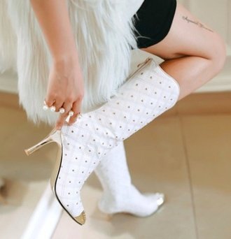 shoes white boots gold studded metal tip boots
