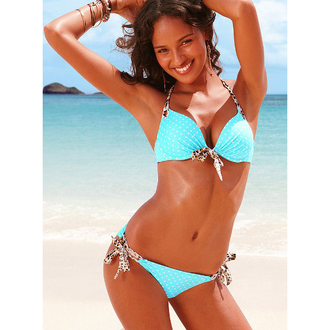 swimwear victoria's secret bikini light blue leopard print polka dots gorgeous summer outfits beach bikini