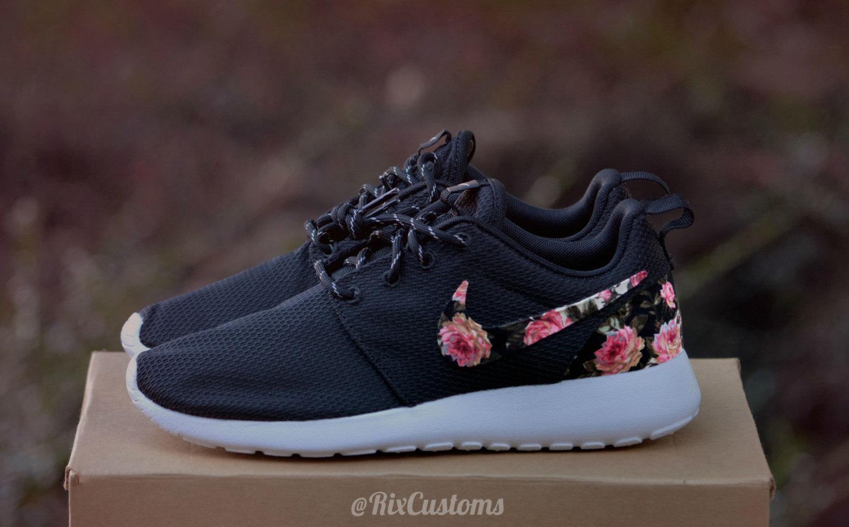 6743c84d24bb Floral Roshe Run Custom Black White Roses MEMORIAL DAY SALE