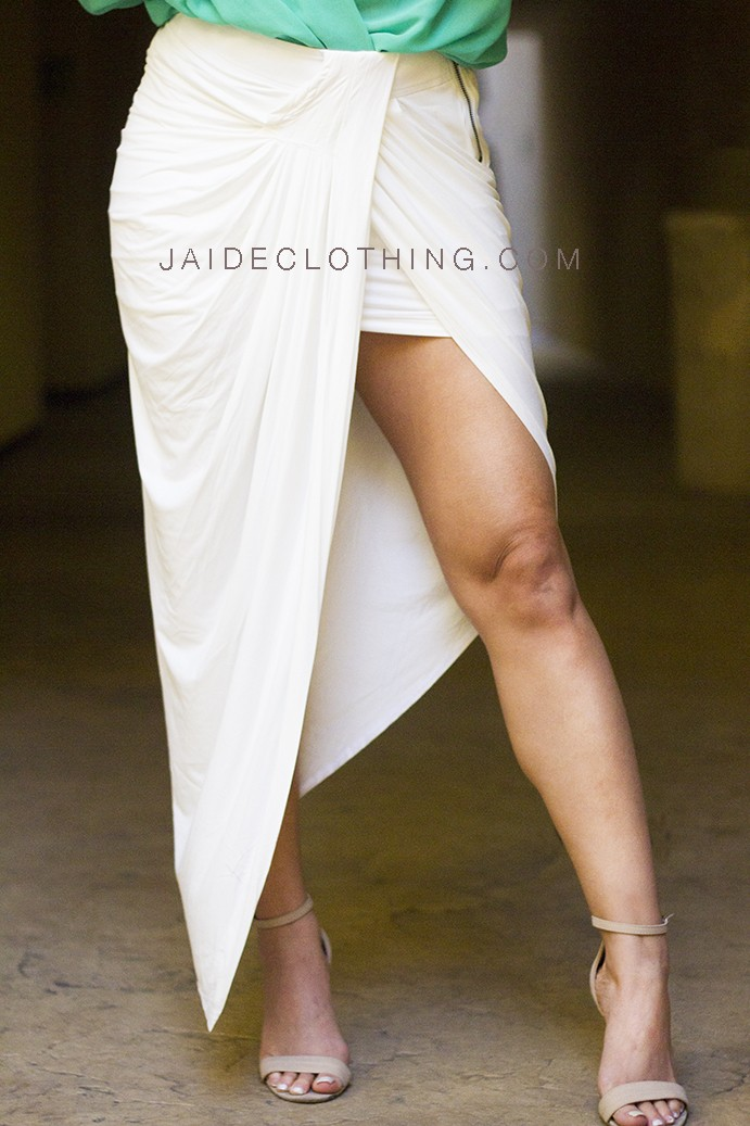 Suede Faux Leather White Waterfall Skirt - Skirts