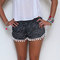 Pom pom shorts - black and white dot pattern with white pom pom trim - lightweight chiffon