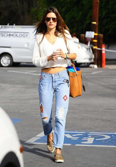 alessandra ambrosio jeans bag denim crop tops