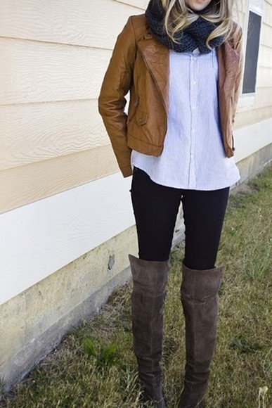 grey boots shoes jacket jeans skinny jeans scarf shirt leather moto jacket infinity scarf button up blouse