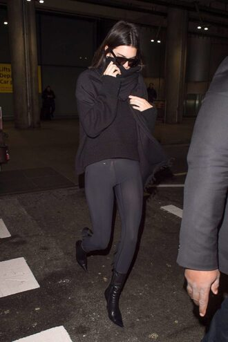 shoes leggings sweater kendall jenner kardashians model off-duty fall outfits all black everything