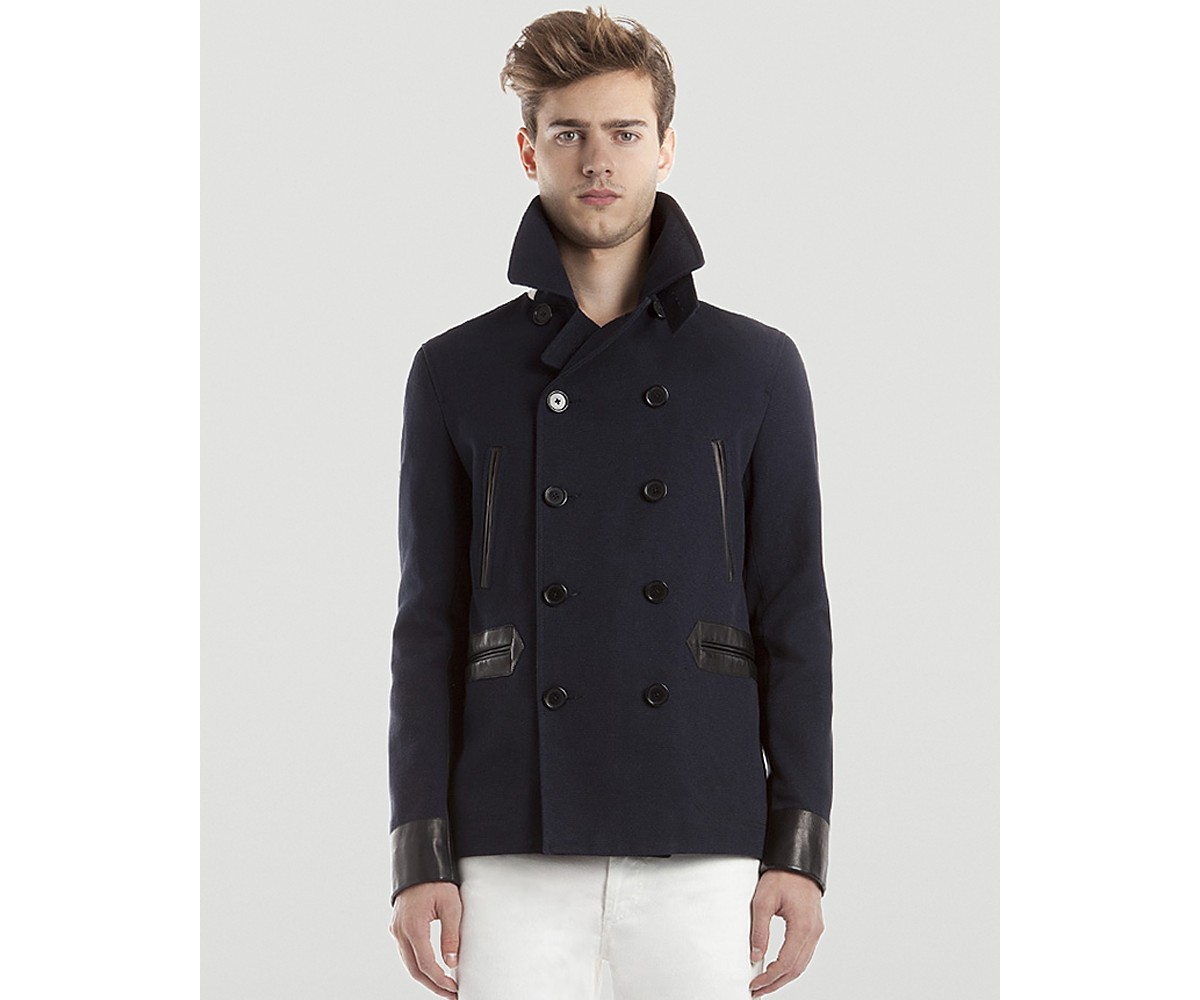 Sandro Cotton Pea Coat with Leather Details | Bloomingdale's