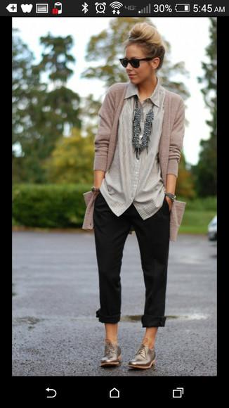 striped shirt blouse button up shirt neutral colors