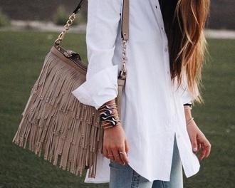 bag suede neutral designer bag fashion blogger fringed bag studs grey
