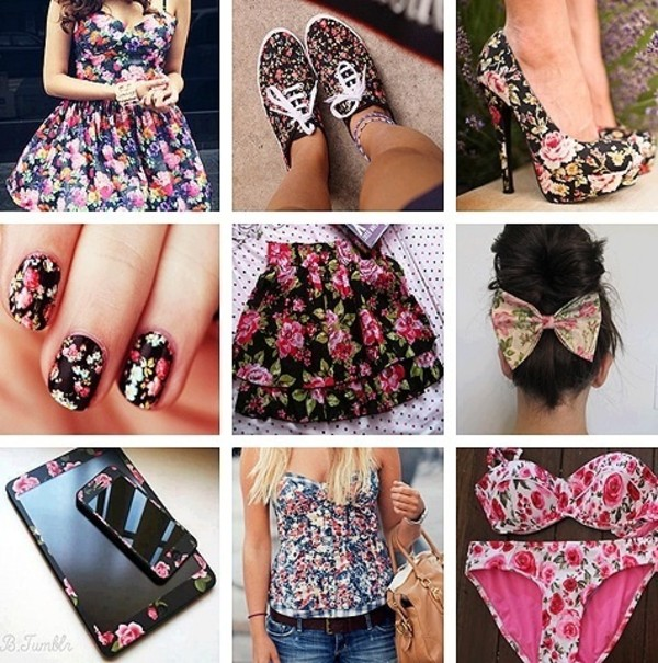 dress shoes skirt jewels swimwear tank top floral flowers bag flowered shorts flowered top flowered skirt fashion belt flowers heels bow shirt bikini