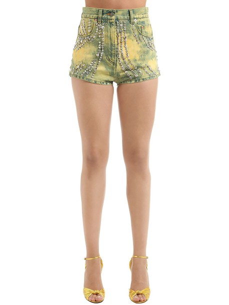 GUCCI Studded Marble Washed Denim Shorts in yellow