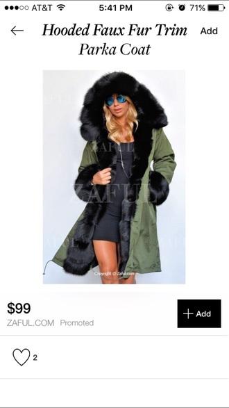 coat black parka fur coat