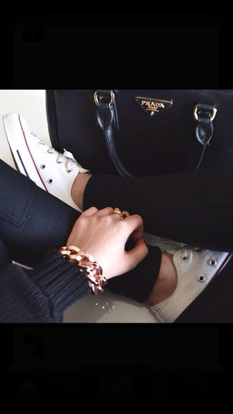 bag prada pants shoes jewels bracelets converse purse leggins black leggings white converse sweater