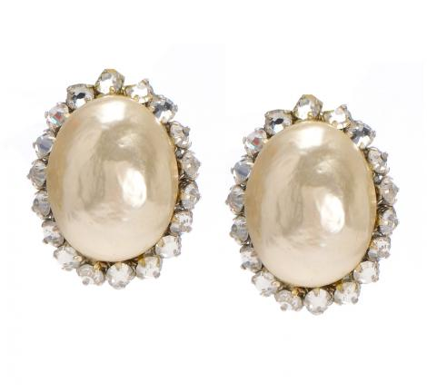 Oval pearl & crystal button earrings