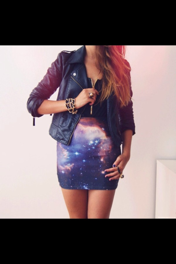 jacket galaxy shirt miniskirt black black jacket leather jacket swag swag pink skirt purple