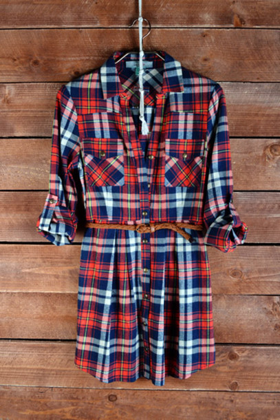 Shirt Dress Plaid Belted Tunic Flannel Wheretoget