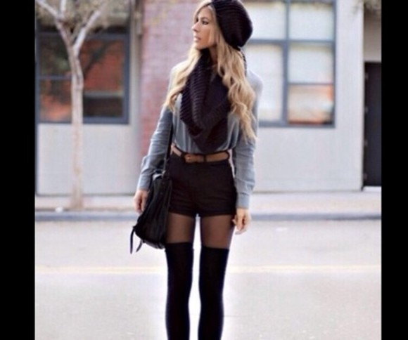 grey sweater hat shorts black scarf high waisted black shorts tights black bag bag blouse coat belt shoes