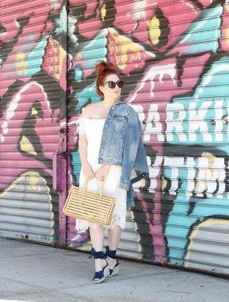 tf diaries blogger dress jacket jeans shoes denim jacket wedge sandals sandals white dress summer dress