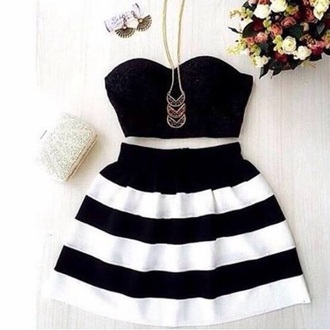 dress black and white black croptop striped skirt striped dress spring skirt top bra top stripes skirt chain fashion black white black dress black and white zebra stripes