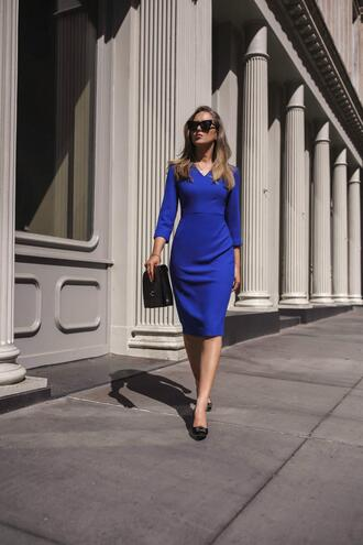 memorandum blogger dress bag shoes sunglasses blue dress