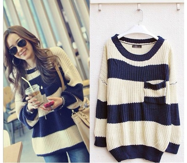 Knitting Pattern Striped Sweater : Sweater: stripes, oversized sweater, knitted sweater, navy ...