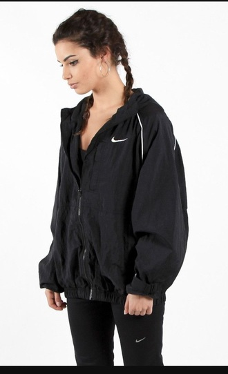 jacket nike black windbreaker jewels jewelry earrings hoop earrings nike jacket