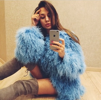 faux fur coat faux fur fur coat blue fur coat blue fur