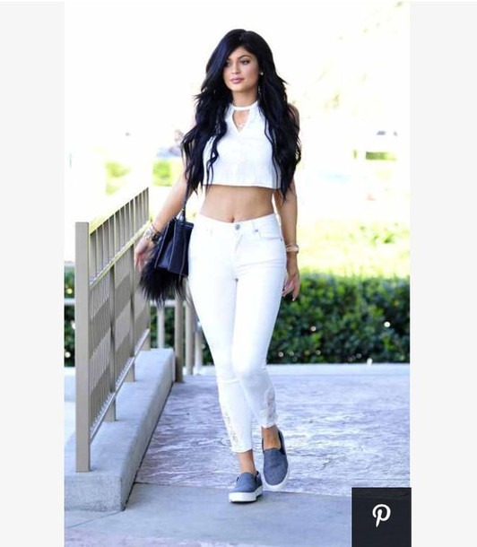 Top: lace, kylie jenner, white crop tops, white shirt, white jeans ...