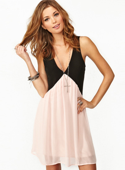 Black Pink Deep V Neck Hollow Chiffon Dress - Sheinside.com
