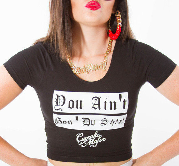 chain necklace gold top trill dope swag rich crop tops yasss font cupcake mafia bitch