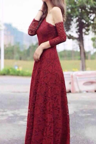 dress red long sleeves maxi dress high slit solid color lace spliced sloping neck dress long dress beautiful classy elegant