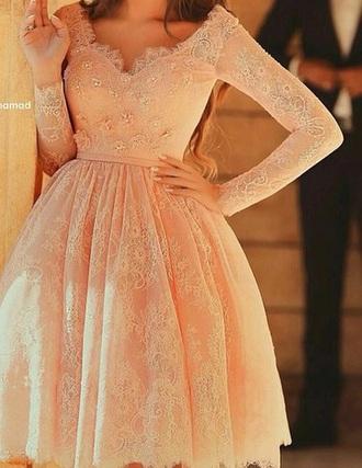 dress baby pink long sleeve dress prom dress