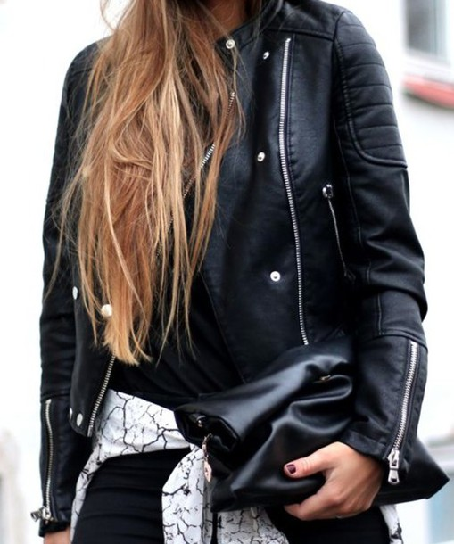 jacket leather jacket biker jacket black