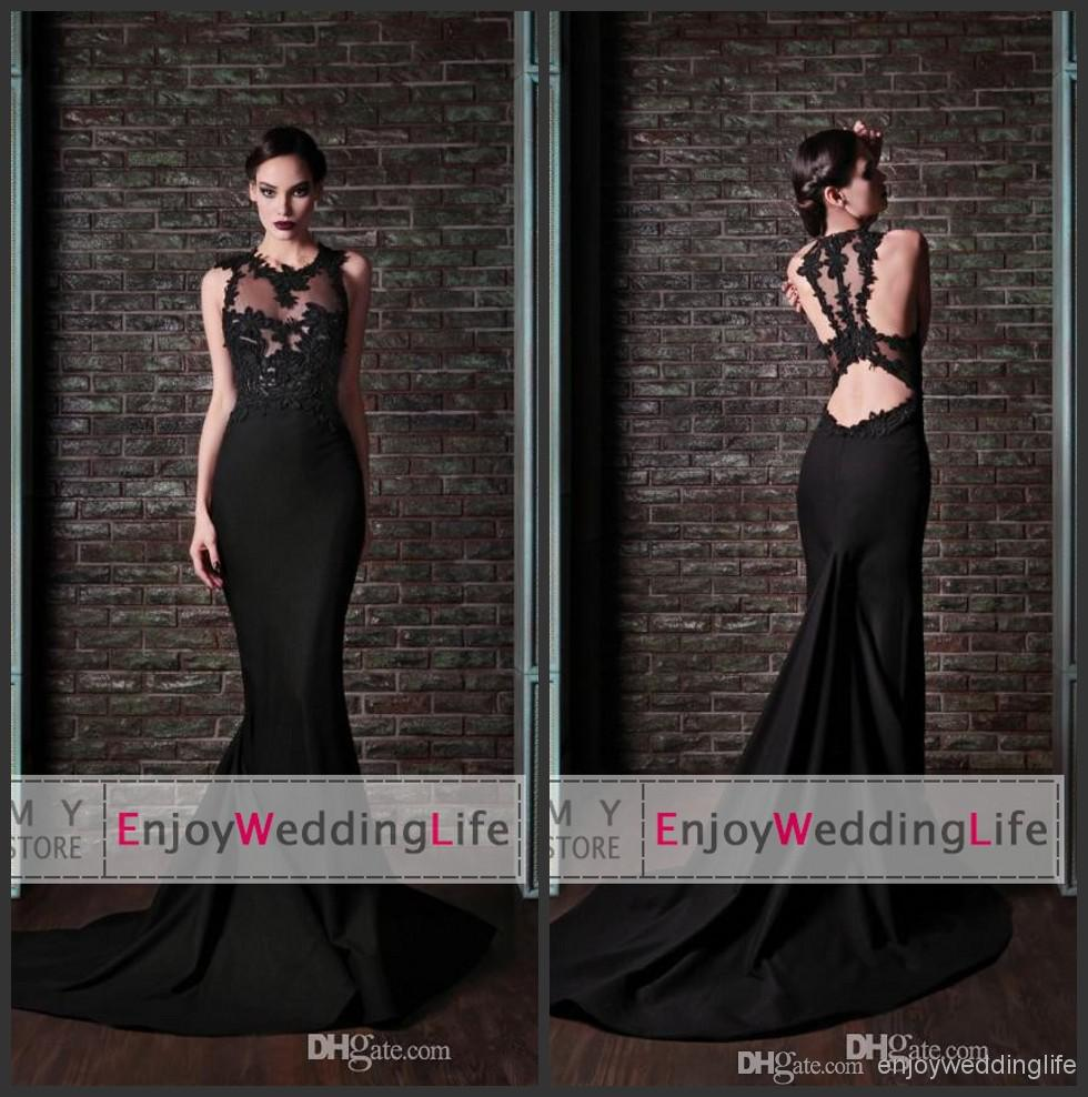Discount 2014 Sexy New Sleeveless Black Satin Mermaid Evening Dresses Tulle Applique Backless Court Train Formal Party Women Gowns Online with $124.31/Piece | DHgate