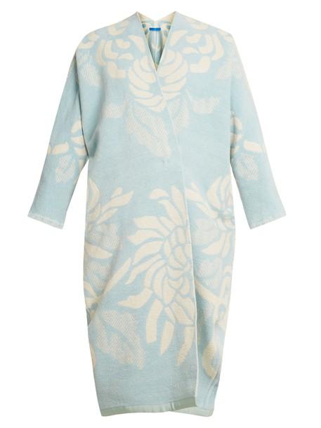 coat jacquard floral cotton white blue